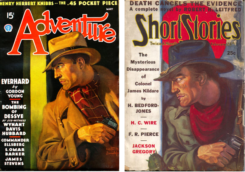 Adventure 1936 May cover  by Walter Baumhofer vs Short Stories Feb 25 1938 by A.R.Tilburne